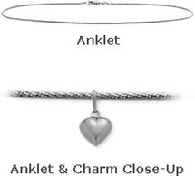 "White Gold 10"" Snake Style Anklet with 9mm Heart Charm"