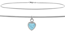 10 Karat White Gold CHOOSE YOUR STONE Snake Heart Charm Anklet