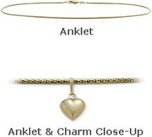 "Yellow Gold 10"" Snake Style Anklet with 9mm Heart Charm"