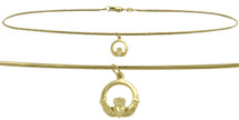 10 Karat Yellow Gold Celtic Charm Snake Anklet