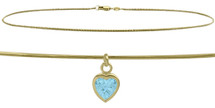 10 Karat Yellow Gold CHOOSE YOUR STONE Snake Heart Charm Anklet
