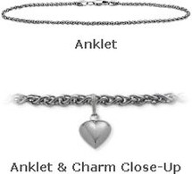 "White Gold 10"" Wheat Style Anklet with 9mm Heart Charm"