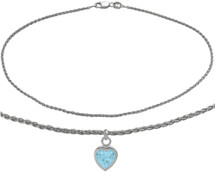 10 Karat White Gold CHOOSE YOUR STONE Wheat Heart Charm Anklet