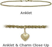 "Yellow Gold 10"" Wheat Style Anklet with 9mm Heart Charm"