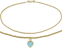 10 Karat Yellow Gold CHOOSE YOUR STONE Wheat Heart Charm Anklet
