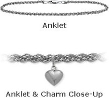 "10"" White Gold Wheat Style Anklet with 9mm Heart Charm"