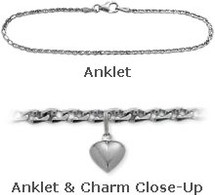 "White Gold 10"" Flat Gucci Style Anklet with 9mm Heart Charm"