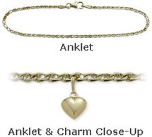"Yellow Gold 10"" Flat Gucci Style Anklet with 9mm Heart Charm"