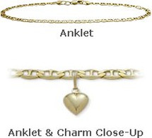 "10"" Yellow Gold Flat Gucci Style Anklet with 9mm Heart Charm"