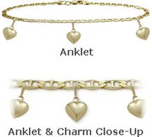 "Yellow Gold 10"" Flat Gucci Style 3 Heart Charm Anklet"