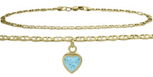 10 Karat Yellow Gold CHOOSE YOUR STONE Flat Gucci Heart Charm Anklet