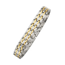 12mm Designer Magnetic Two-Tone Steel Men's Bracelet