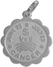 10 Karat White Gold Cancer Zodiac Pendant (June 23-July 23)