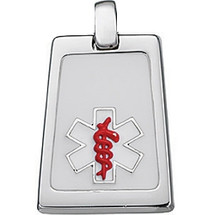 Sterling Silver White & Red Enamel Medical Pendant