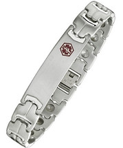 Stainless Steel & Magnetic 12mm Adjustable Medical ID Bracelet
