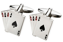 Men's Four Ace Steel Cuff Links