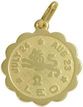 10 Karat Yellow Gold Leo Zodiac Pendant (July 24 - Aug 23)