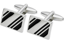 Men's Stainless Steel & Enamel Cuff Links