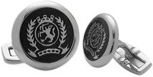 Men's Stainless Steel & Black Enamel Cuff Links
