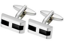 Men's Stainless Steel & Black Onyx Cuff Links