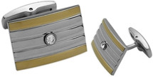 Men's Stainless Steel & Gold Plated Cuff Links