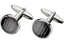 Men's Steel Grey & Black Enamel Cuff Links