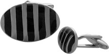 Men's Black Enamel & Steel Cuff Links