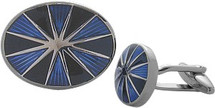 Men's Blue & Black Enamel Steel Cuff Links