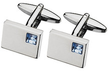 Men's Blue Topaz Cubic Zirconia Steel Cuff Links
