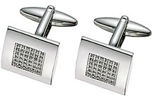 Stainless Steel Swarovski Crystal Cuff Links