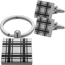Men's Steel Square Cufflinks & Key Chain Set