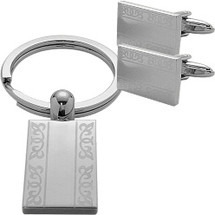 Men's Steel Rectangular Cufflinks & Key Chain Set