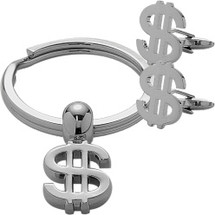 Men's Steel Money Sign Cufflinks & Key Chain Set