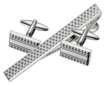 Men's Steel Cufflinks & Tie Pin Set