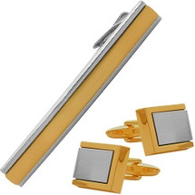 Men's Steel & Gold Plated Cufflinks & Tie Pin  Set