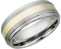 8mm Tungsten Carbide Two-Tone Gold Plated Ring
