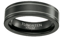 Black Tungsten Double Line 6mm Ring