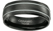 Black Ceramic 7mm Double Line Half Dome Ring