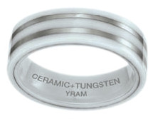 White Ceramic & Tungsten 7mm Double Line Ring