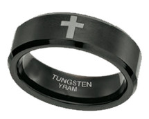 Black Tungsten with Cross 8mm Ring