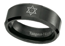 Black Tungsten with Star of David 8mm Ring