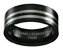 Black Ceramic with Tungsten 8mm Flat Ring