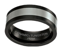 Black Ceramic with Tungsten 8mm Ring