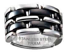Stainless Steel & Black Ceramic 13mm Flex Ring