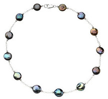 18 Inch Sterling Silver Black Coin Pearl Necklace