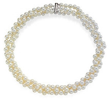 Sterling Silver 3-Strand White Pearl Necklace
