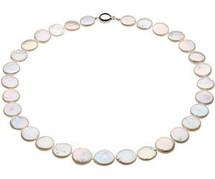 White Coin Pearl 18 inch Sterling Silver Necklace