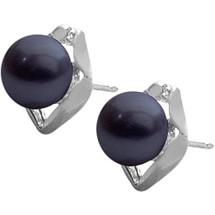 Sterling Silver Black Freshwater Pearl Earrings