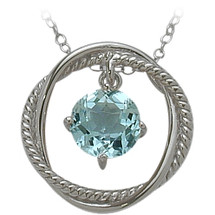 Ladies Sterling Silver Free Moving Blue Topaz Pendant