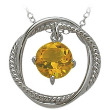 Ladies Sterling Silver Free Moving Citrine Pendant